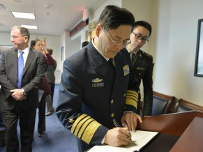 Deputy Chief of the General Staff of the People's Liberation Army of China Admiral Sun Jianguo signs the guestbook shortly before meeting with Deputy Secretary of Defense Bob Work at the Pentagon Nov. 7, 2014. DoD photo by Glenn Fawcett (Released)