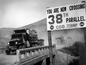 Crossing the 38th parallel.  United Nations forces withdraw from Pyongyang, the North Korean capital.  They recrossed the 38th parallel.  1950.