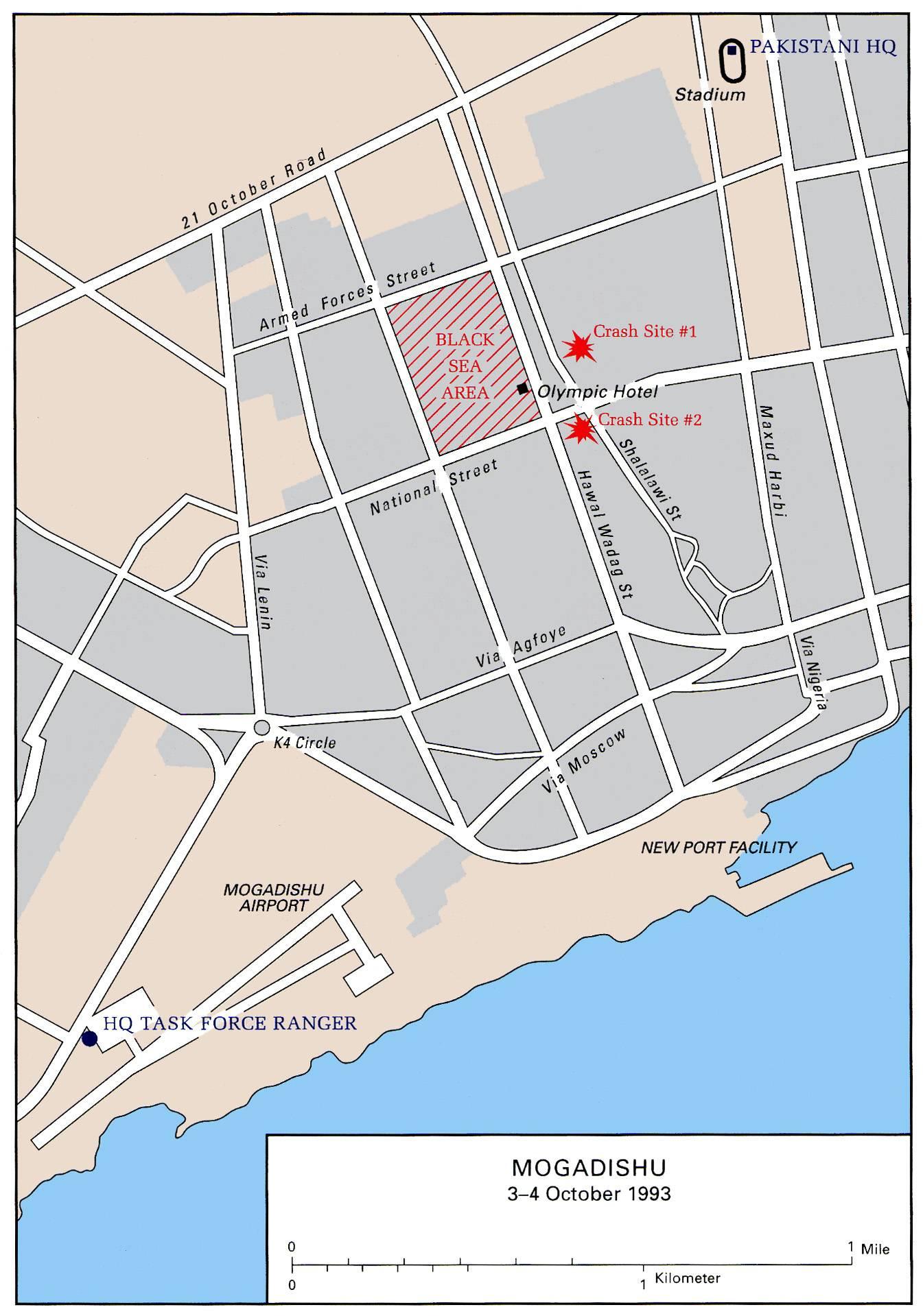 Área da operação, com os pontos de queda.