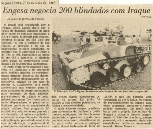Recorte de jornal da época insinuando uma suposta negociação entre a Engesa e o Iraque par a venda 200 EE-T4 Ogum (FONTE: Coleção do Autor)