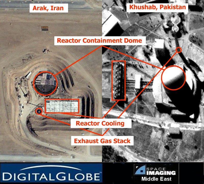 complexos em Arak, no Irã, e Kushab, no Paquistão - imagem Global Security