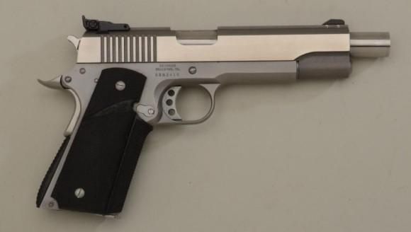 """pistol 45 cal. 6"""" extended barrel, stainless steel"""