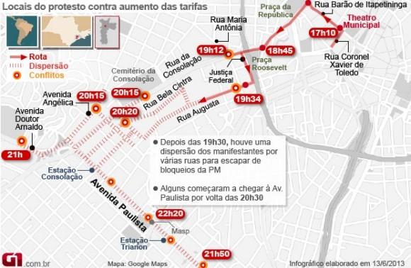 mapaprotestosp quinta 13 junho - imagem G1