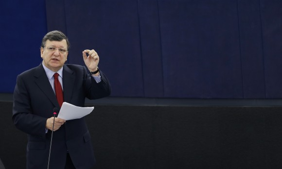 European Commission President Barroso addresses the European Parliament during a debate in Strasbourg