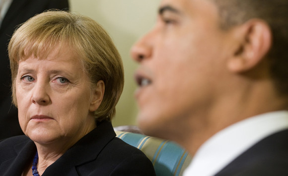 US President Barack Obama meets with Ger