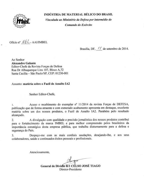 Agradecimento da IMBEL à revista Forças de Defesa pela matéria do sistema de armas IA2