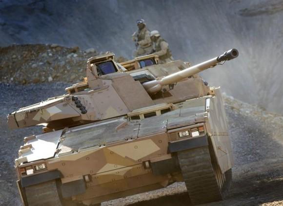 Carro de combate em nota sobre lançador LEDS-50 Mk2 - foto via Saab