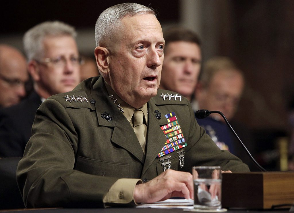 Gen. James Mattis testifies before the Senate Armed Services Committee hearing