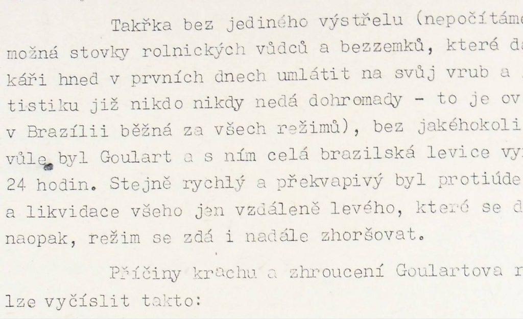 Trecho do relatório do serviço de inteligência tchecoslovaco sobre o golpe de 1964