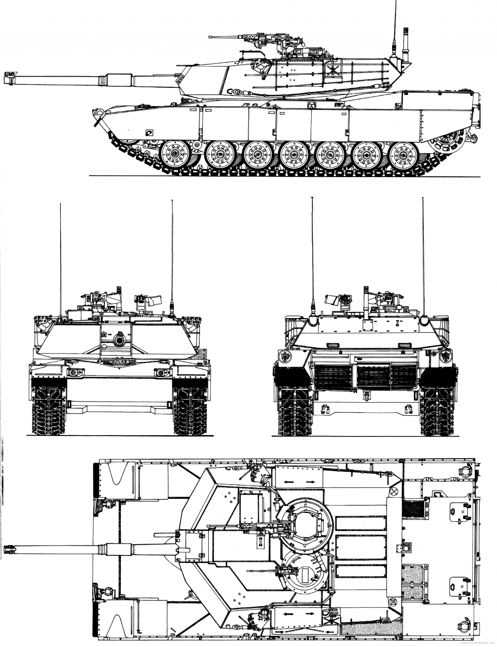 M1 Abrams com canhão M68A1 de 105 mm