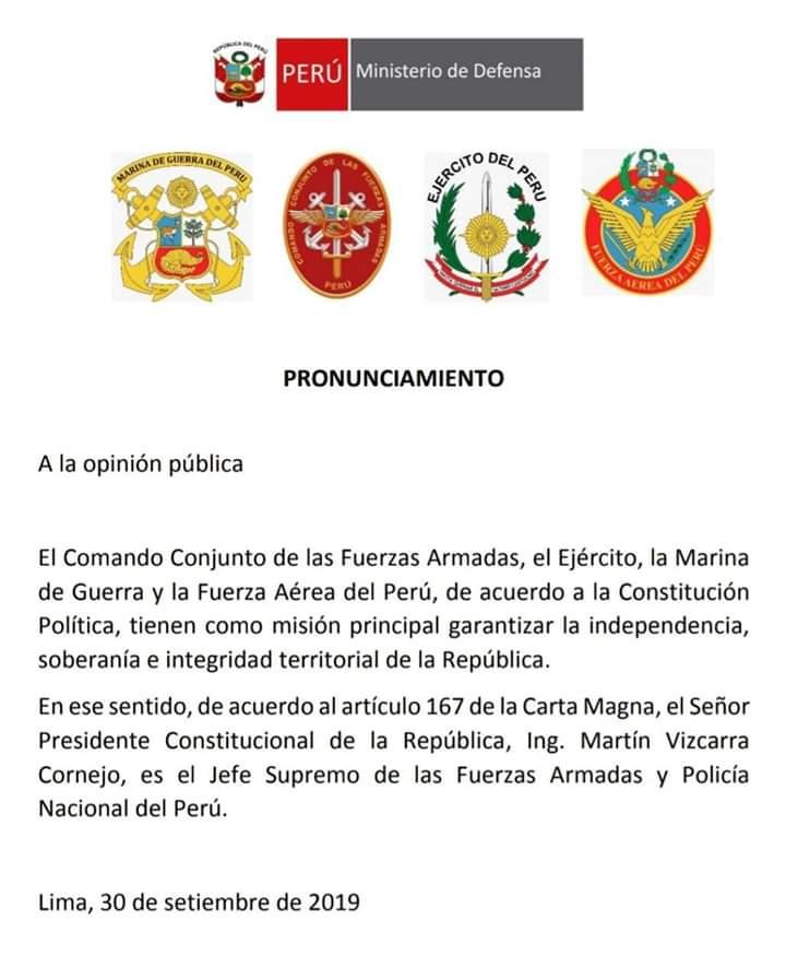 Pronunciamento das Forças Armadas do Peru